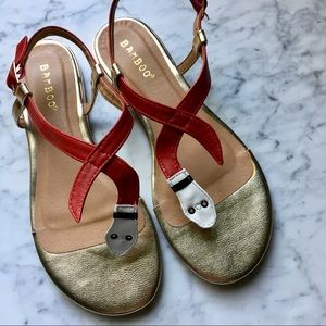 Bamboo Red Snake Flat Sandals